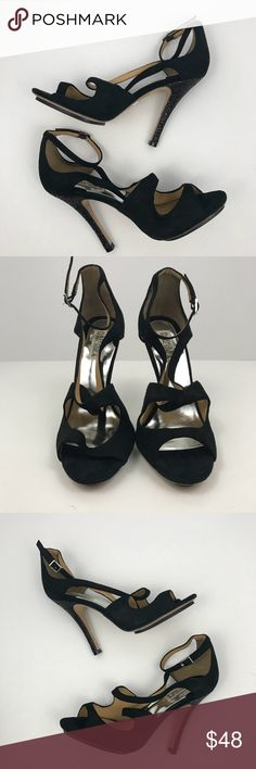 NWOT Badgley Mischka suede & glitter evening heels New without tags. Black glitter on heels - a few grains of glitter missing -see pictures. Otherwise excellent condition. Badgley Mischka Shoes Heels