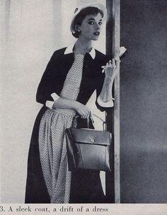 Model wearing a coat dress, 1950s.