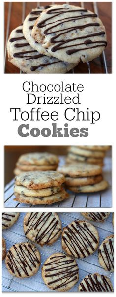 Chocolate- Drizzled Toffee Chip Cookies