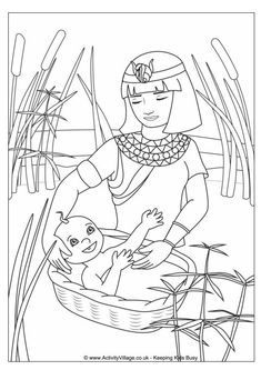 Moses, : Baby Moses was Safe in His Basket Boat Coloring