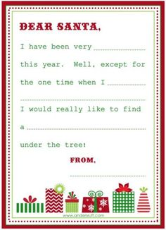 wish list and letter to santa free printable
