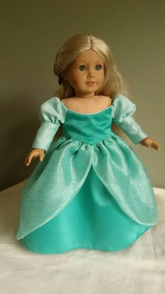 """Ariel, the Little Mermaid's green ball gown. Fits American Girl and other 18"""" dolls."""