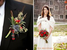 Scotish themed wedding flowers using thistle, berries, and tartain fabrics.