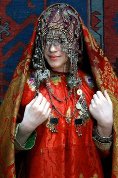 Traditional caucasian costume, Dagestan. 19th century. Ethnic silver jewelry.