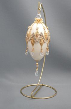 Bedazzled Chevron Design Egg Ornament in Swarovski, Faberge Style Decorated Egg