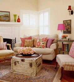 . Fresh Living Room, Cozy Living Rooms, Home Living Room, Apartment Living, Living Room Designs, Living Room Decor, Living Spaces, Small Living, Cottage Living