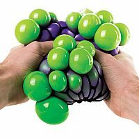 Squeeze the Giant Color Morph Bubble Ball, over-sized and squishy, and watch the cool purple and green bubbles pop through your fingers.