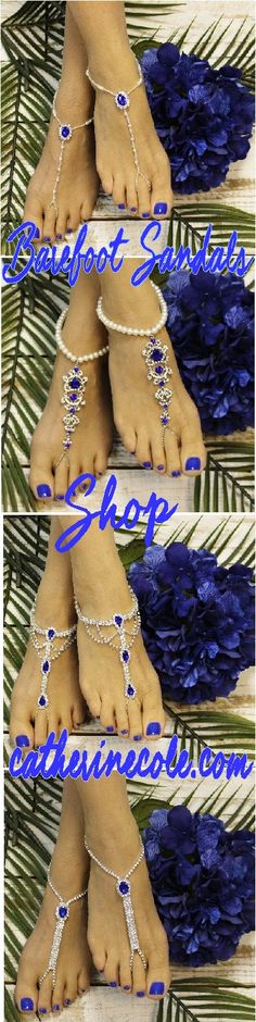 The perfect barefoot sandal in Sapphire blue for your beach wedding. Find the perfect look at here! #barefootsandals # beachwedding