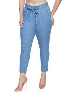 27f096dbda8 Plus Size Almost Famous Chambray Tie Front Trousers
