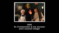 dr. frankenstein & his monster and a scared villager