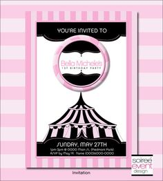 """Girly Circus!""© 5x7 Invitation from Soiree-EventDesignShop.com"