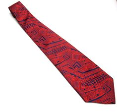 Vintage Beau Brummell Necktie Cream Red Blue by sweetie2sweetie, $14.99