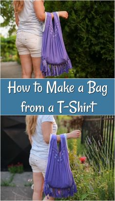 Try making a fun bag out of an old t-shirt! Everyone has old t-shirts that they don't wear anymore, so why not repurpose them into something you need! This DIY bag is so easy to make. You will love this fun upcycled t-shirt bag! Cut Up Shirts, Old Shirts, Diy Shirt, Diy Tank, Shirt Bag, Crafts For Teens To Make, Do It Yourself Fashion, Diy Fashion, Bag Making