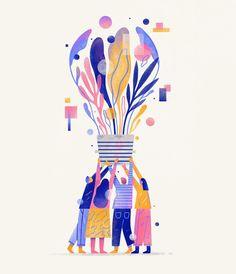 People & ideas by brad cuzen plant illustration, illustration girl, wat Art And Illustration, Flat Design Illustration, Illustrations And Posters, Character Illustration, People Illustrations, Design Graphique, Art Graphique, Street Art Graffiti, Graphic Pattern