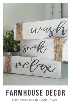 Wash Soak Relax Bathroom Decor Set Rustic Farmhouse Wood Sign #affiliate #farmhousedecor #bathroomdesign