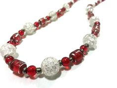 24 Red Clear and Silver Holiday Necklace by DCArtandPhotography