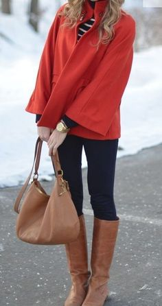Brown boots and bag with red coat and striped shirt