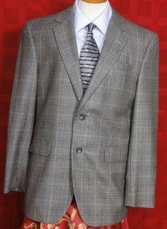 Jos A. Bank Men's Multi Color Glen Plaid 2 Button Wool Sport Coat Size 40R #JosABank #TwoButton