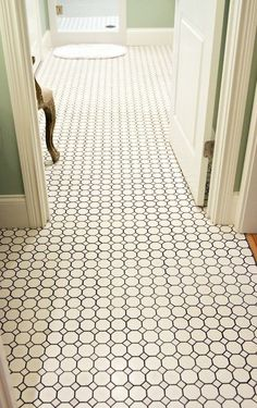 White octagon tile with grey grout for a classic bathroom floor Black Grout, Grey Grout, Bathroom Floor Tiles, Bathroom Renos, Bathroom Ideas, Shower Bathroom, Shower Floor, Design Bathroom, Washroom