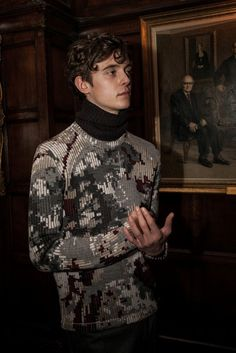 Pixellated knits backstage at Pringle Of Scotland AW15 LCM. See more here: http://www.dazeddigital.com/fashion/article/23164/1/pringle-of-scotland-aw15