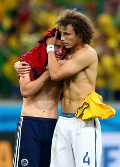 David Luiz consoles James Rodriguez after Colombia lost to Brazil. Love him! :'D