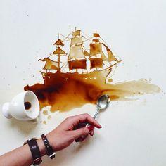 L'italienne Giulia Bernardelli utilise des taches de café et de chocolat qu'elle transforme en superbes dessins.