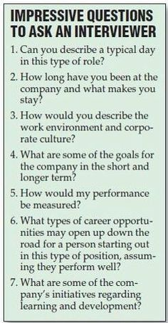 Questions to ask your prospective employers!