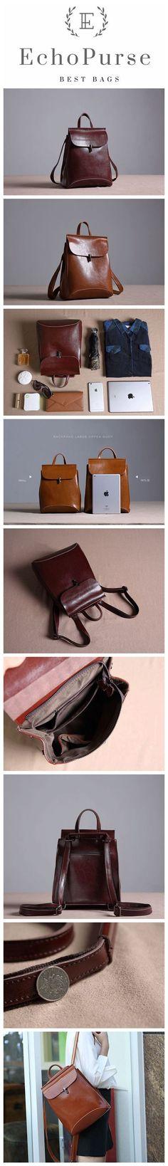 Handmade Full Grain Leather Women Backpack, Rucksack XW01