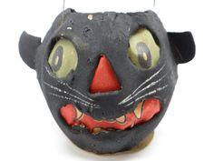 1930's German Black Cat Head Jack O Lantern Antique by exploremag