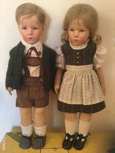 2 Käthe-Kruse Puppen: dos antiguas muñecas de porcelana de Alemania - Foto 1
