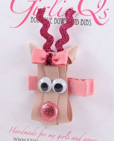 Pink Girl Reindeer Christmas Hair Clip - Rudolph the Red Nosed Reindeer have to do this for Jordan Ribbon Hair Clips, Ribbon Hair Bows, Diy Hair Bows, Christmas Hair Bows, Reindeer Christmas, Christmas Girls, Crochet Christmas, Barrettes, Hairbows