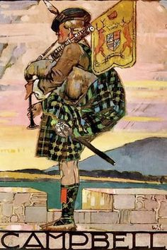 Campbell -print from a little-known book called Clanlands, written & illustrated by William Stewart in 1928 for the London Midland & Scottish Railway Company (LMSR). Stewart's choice of clan subjects corresponds with some of the routes routes operated by the LMSR.