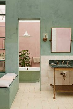 Time was when an avocado-green bathroom marked you out as someone with dreadful, bad taste. Oh, how things have changed… Bathroom Stand, Beige Bathroom, Bathroom Colors, Wood Bathroom, Bathroom Interior, Green Bathrooms, Green Bathroom Paint, Tiny Bathrooms, Bathroom Showers