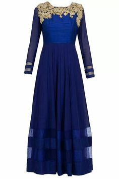 Indian long gown.. Royal blue with gold work. A royal look..