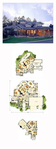 DesertRose,;,Prairie House Plan 43205 | Total Living Area: 5876 sq. ft., 5 bedrooms and 6.5 bathrooms. #prairiehome,;,