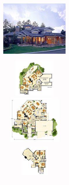 DesertRose,;,Prairie House Plan 43205 | Total Living Area: 5876 sq. ft., 5 bedrooms and 6.5 bathrooms. #prairiehome,;,