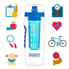 Water Bottle with Fruit Infuser – BPA Free Plastic and Eco Friendly Silicone |