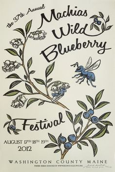 Machias Wild Blueberry Festival Poster - Beehive Design Collective