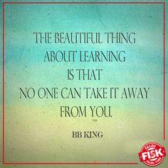 """""""A beleza do aprendizado é que ninguém pode roubá-lo de você""""  - BB King."""
