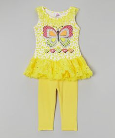 Loving this Yellow Butterfly Tutu Tunic & Leggings - Infant, Toddler & Girls on #zulily! #zulilyfinds