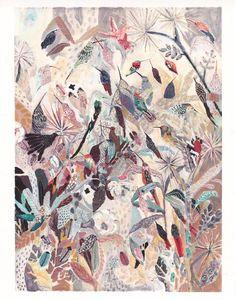 Esto es un archivo de mi pintura gouache y acrílico original.  Colibríes entre aves nidifican helechos, escarabajos y un árbol de Josué.  Todas mis copias se utilizan con materiales de muy alta calidad incluyendo tintas de pigmento base y documentos de archivo. Para mantener su impresión