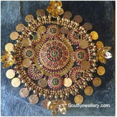 antique finish ruby pendant adorned with rubies, emeralds and Lakshmi kasu coins. Hand Embroidery Dress, Embroidery Fashion, Hand Embroidery Designs, Embroidered Blouse, Beaded Embroidery, Embroidery Patterns, Antique Jewellery Designs, Indian Jewellery Design, Indian Jewelry