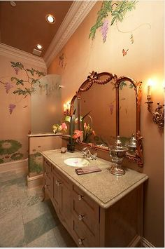 A warm and inviting bathroom with floral wallpaper