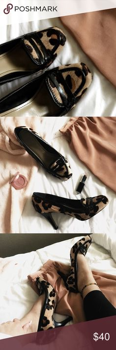 [ZARA] Leopard Pony Hair/ Leather Heels Material:Leather/Pony Hair✨ Color :Black/Brown/Tan // Size: 37-US 6.5 // Heel: 3 1/2 in. Great condition! Zara Shoes Heels