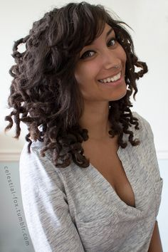 """celestial-fox: """" Lock knot-out results! Turns out the struggle was worth it! I was apprehensive because I'd never seen anyone with straight bangs and curly locks, but I love how it came out. Straight Fringes, Straight Bangs, Knot Out, Faux Locks, Dreadlock Styles, Synthetic Dreads, Hairstyle Look, Goddess Braids, Loose Hairstyles"""