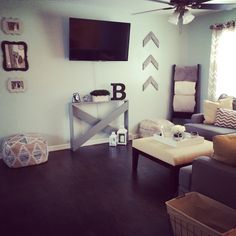 living room decor #diy #rustic #anawhite #shanty2chic #5boardtable #blanketladder #woodenarrows #pouf  @shanty2chic @knockoffwood @cherishedbliss