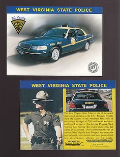 WEST VIRGINIA WV STATE POLICE TROOPERS Ford Squad Car Highway Patrol 1999 CARD