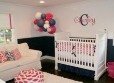 Pink and Navy Nursery The name in the wall and the bedding that should be my babies name too