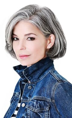 Salt and pepper gray hair. Grey hair. Silver hair. White hair. Granny hair don't care. No dye. Dye free. Natural highlights. Aging and going gray gracefully. Bob haircut.