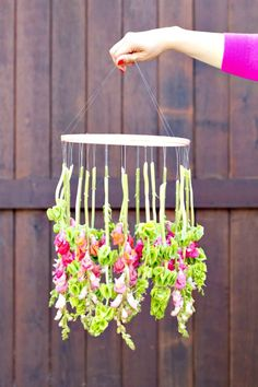 Make Your Own Hanging Flower Chandelier - 101 Easy DIY Spring Craft Ideas and Projects - DIY & Crafts